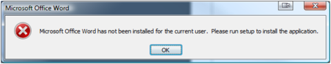 Microsoft Office Word has not been installed for the current user.  Please run setup to install the application